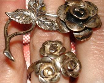SALE beautiful vintage BEAU sterling silver rose brooch