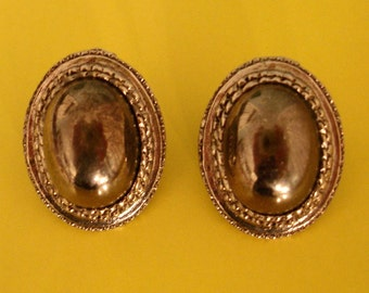 SALE vintage dark pearly hematite gray and silver earrings
