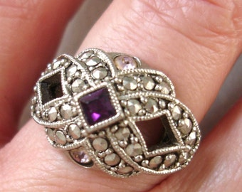 vintage AVON faux marcasite and amethyst art deco style dome ring