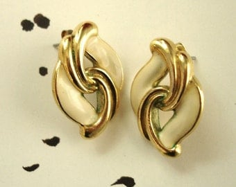 vintage off white enamel gold pierced earrings