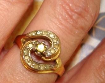 vintage ESPO yellow gemstone and faux diamond golden swirl ring
