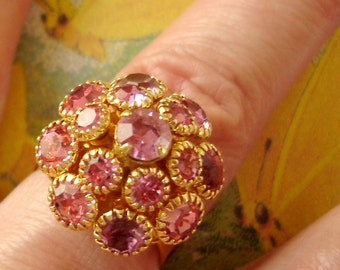 vintage Sarah Coventry PINK CHAMPAGNE domed rhinestone cluster ring