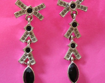 vintage jet black and shimmering white rhinestone dangling silver bow pierced earrings