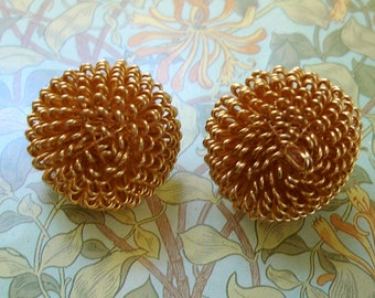 vintage gold wire atomic cocklebur look button pom flower earrings