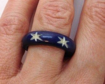nautical vintage cobalt blue carved ring with white stars