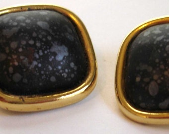 SALE vintage gold clip on square earrings with black metallic stone