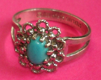vintage SARAH COVENTRY sterling silver and turquoise filigree flower ring size 6.5