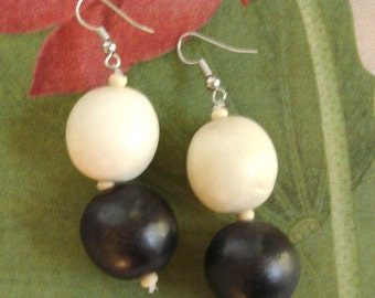 black and white vintage wooden ball earrings