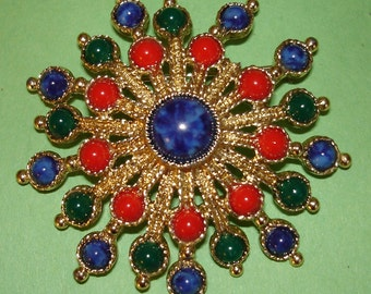 vintage Sarah Coventry colorful burst brooch to wear as is or upcycle