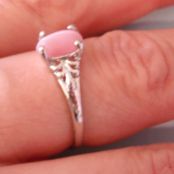 vintage silver deco pearly pink stone ring