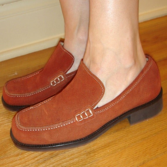 bittersweet orange suede slip on loafer with white stiching size 38