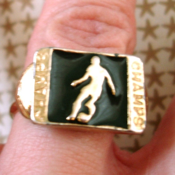 SALE vintage CHAMPS soccer sports gold adjustable ring with black inlay