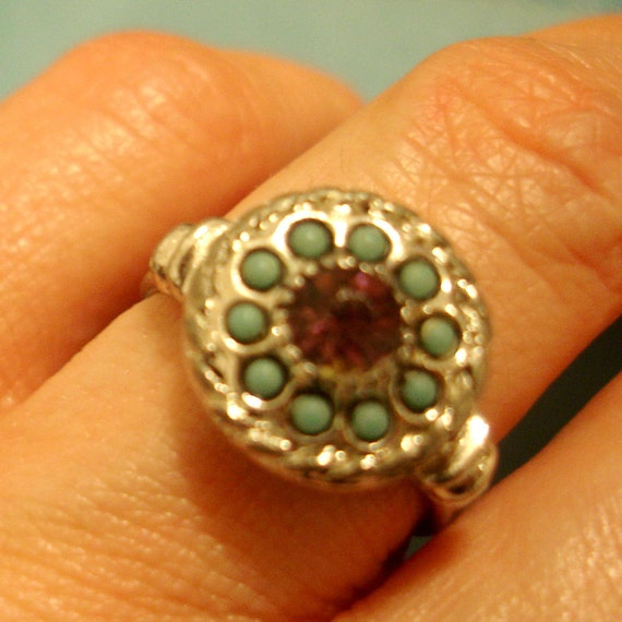 vintage SARAH COVENTRY faux turquoise and amethyst ring
