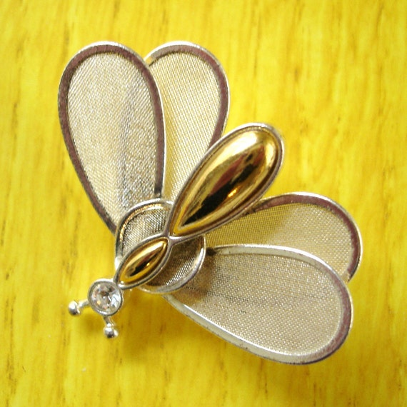 RESERVED FOR hannahsmitterberg vintage rhinestone and gold insect brooch with fluttering silver mesh wings