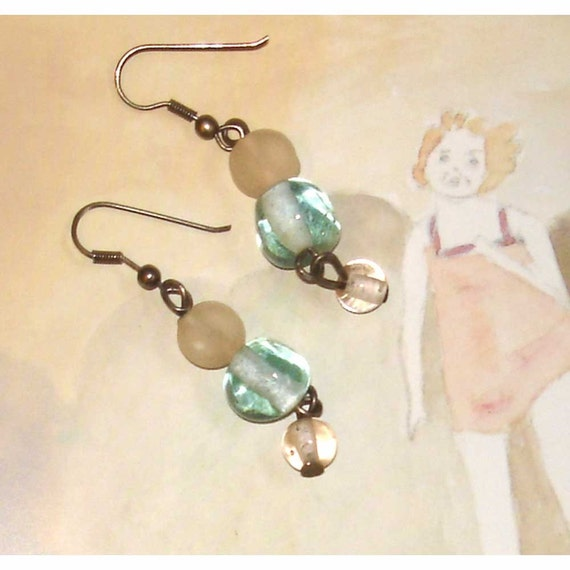 SALE vintage frosted clear, ice blue, and palest pink glass bead earrings