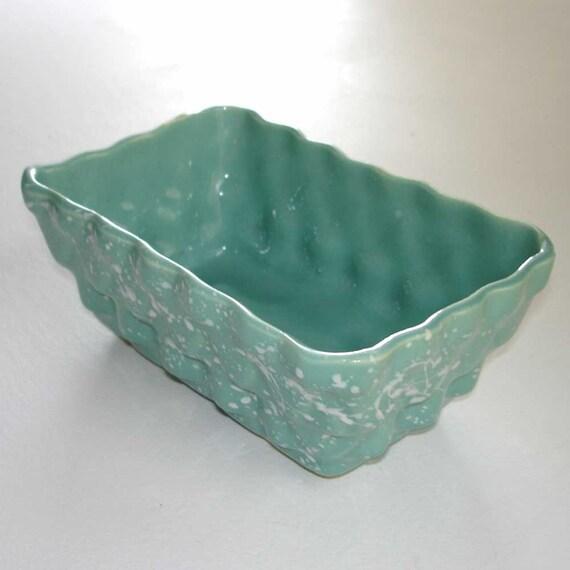 grey green and white splatter glaze retro planter