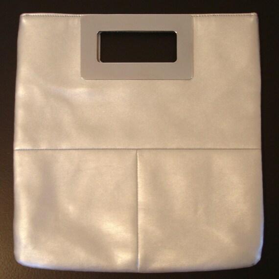 SALE vintage space age mod silver clutch bag