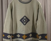 Vintage Green and Blue Cotton Knit Sweater Made in Italy Size L