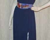 Vintage 80s Boho Rayon Crinkle Skirt Size L Waist 30 to 38 w/more stretch