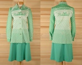 Vintage 70s Green Skirt and Jacket Outfit Size 10 Bust 36 Waist 26 to 32 plus