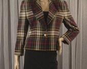Vintage 80s Plaid Jacket Size 6 Petite Bust 36 Length 22