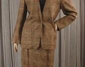 Vintage 80s Plaid Size 10 Jacket and Size 12 Skirt Suit Bust 42 Waist 30