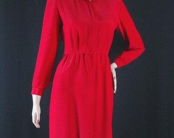 Vintage Red Shirt Dress Size 6 b40