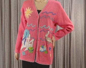 Vintage 90s Quacker Factory By The Sea Pink Sweater L b42