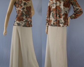 Vintage 70s 3 Piece Long Skirt Tank and Shirt Samurai Print Outfit Size S M