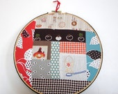 Embroidered and pieced hoop art -  Chicken or the egg kitchy kitcheny