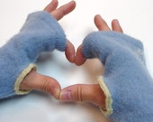 Wrist/arm warmers, fingerless gloves   Forget me not - sweet soft blue recycled