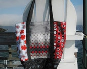 Market tote - Red, black, grey and white - buttons, dots, flowers and more