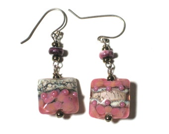 Pink Glass Earrings, Lampwork Earrings, Murano Glass, Boho Chic Jewelry