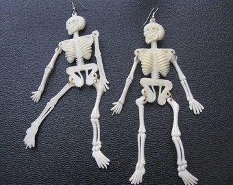 SKELETON EARRING SALE:  Outrageous Long Earrings, Halloween, Gothic, Punk, Vintage Plastic