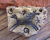"Double Hole Spirit Horse Pendant, 1 1/2"" X 1 3/4"" Natural Stone Shaped Pendant - Earthenware Clay"