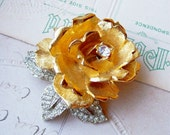 Vintage gold and silver rhinestone realistic rose brooch