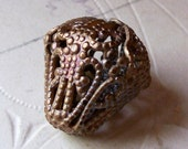 Vintage large brass bell shaped filigree bead X 1