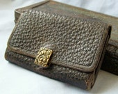 Antique late 19th century textured leather billfold