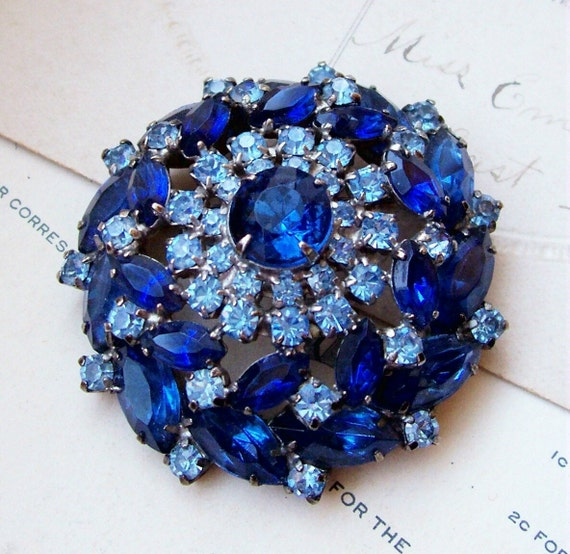 SALE Vintage layered dark and light blue rhinestone brooch