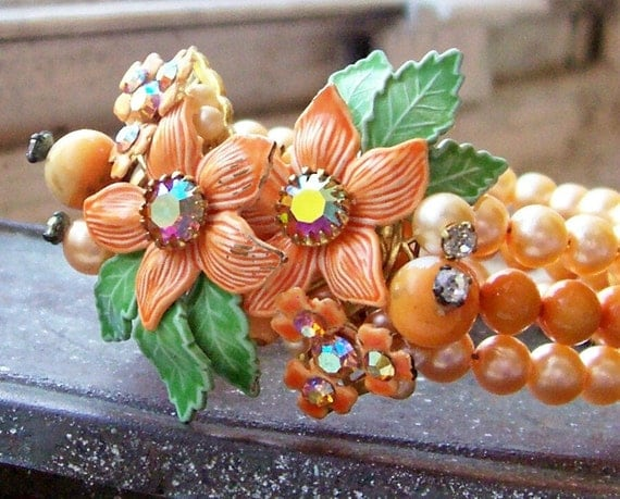 Vintage glamorous tangerine orange enameled and rhinestone floral beaded wrap around bracelet