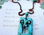 Patina Fleur De Lis and Turquoise Necklace