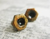 Copper Mini Hex Nut earrings - hardware earrings - handpainted resin studs with surgical steel posts