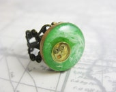 Green and White Circle Ring - Steampunk Design with Gears - White and Absinthe Green Resin Jewelry - Adjustable Brass Filigree Ring