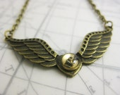 Mechanical Wings Necklace with Gears - Steampunk Jewelry - Bronze Stamping with antique bronze chain
