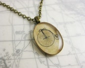 """Penny Farthing Bicycle Vintage Inspired Illustration Necklace - 19"""" antique bronze chain and clasp"""