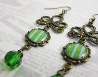 Green Victorian Inspired Circus Striped Earrings with Crystal - Brass or Niobium (hypoallergenic) Fish Hooks