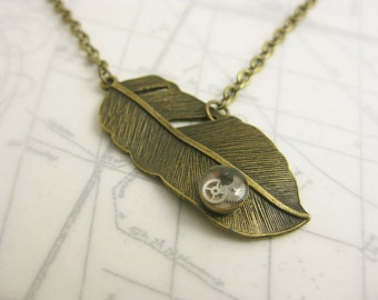 Steampunk Bronze Feather Necklace with Gears - Icarus Greek Mythology - Antique Bronze Chain