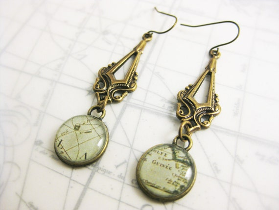 Green Vintage Map Dangle Earrings - Geography Travel Jewelry - Steampunk Resin Antique Brass Stampings - Brass French Fish Hooks