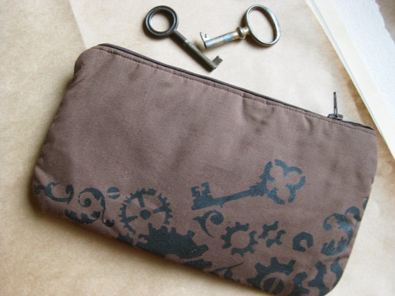 Dark Brown Steampunk Skeleton Key Zippered Pouch / Pencil Case - Cotton