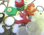 10 Vintage Key Fobs Rings for Reuse Recycle Altered Art Supplies SALE